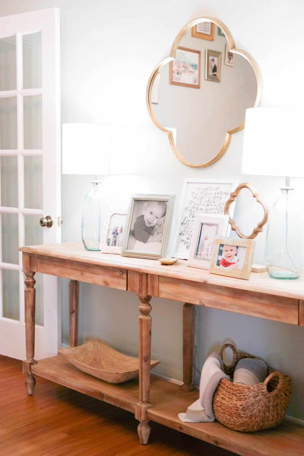 {wood Clover On A Stand From Target // Everett Foyer Table From World  Market // The Lamps // Quatrefoil Mirror // Shannon Kirsten F Scott.  Fitzgerald Quote ...