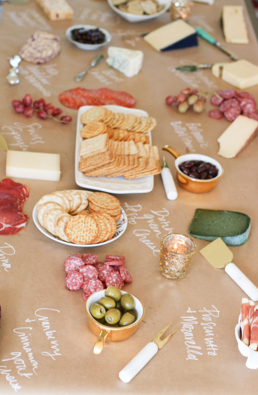 cheese board on kraft paper