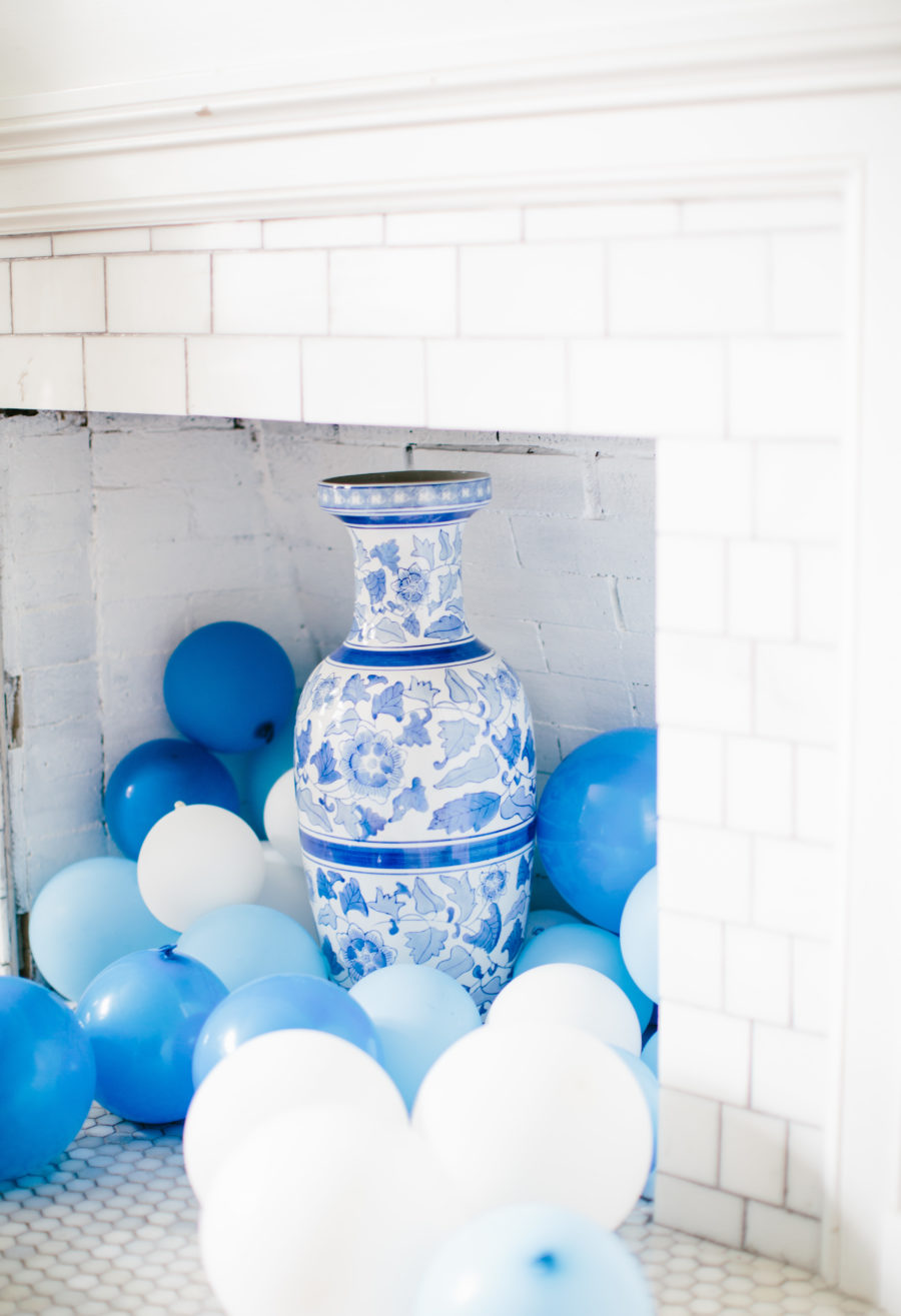 balloons in a fireplace for baby boy shower