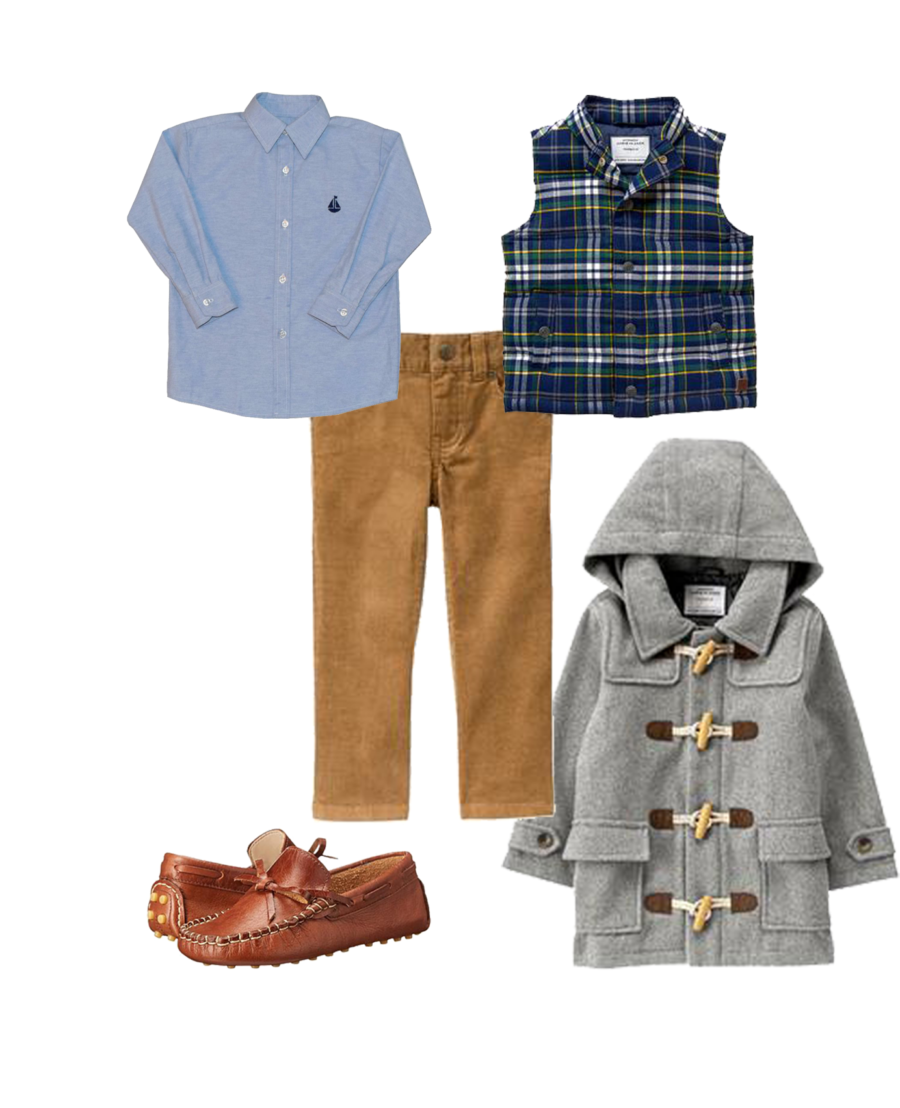 93601b9d4 {elaphantito driving shoes // owen oxford shirt by Nantucket Kids // janie  and jack plaid puffer jacket (LOVE this!!) // janie and jack corduroy pants  ...