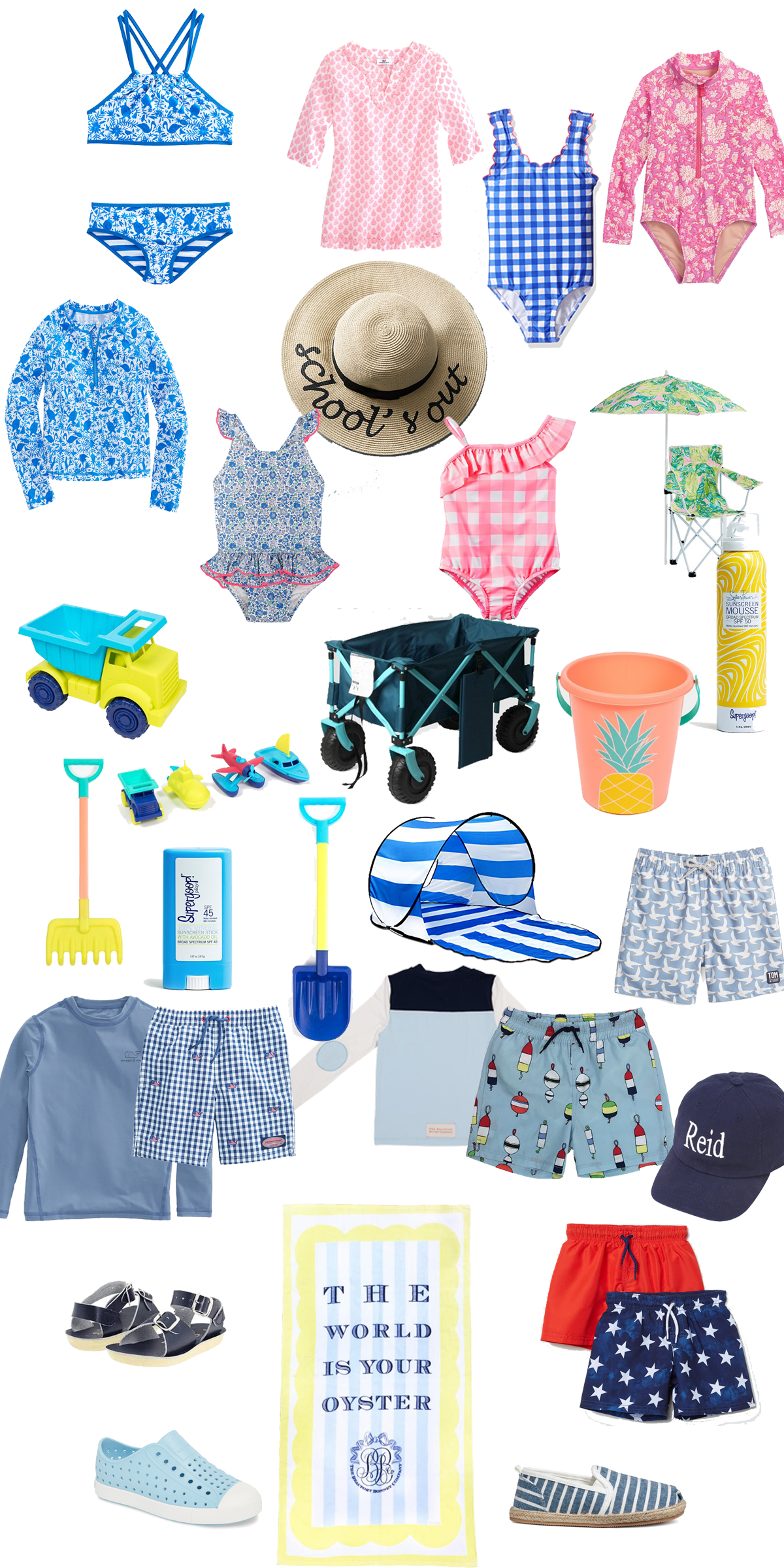 beach and swim list for kids