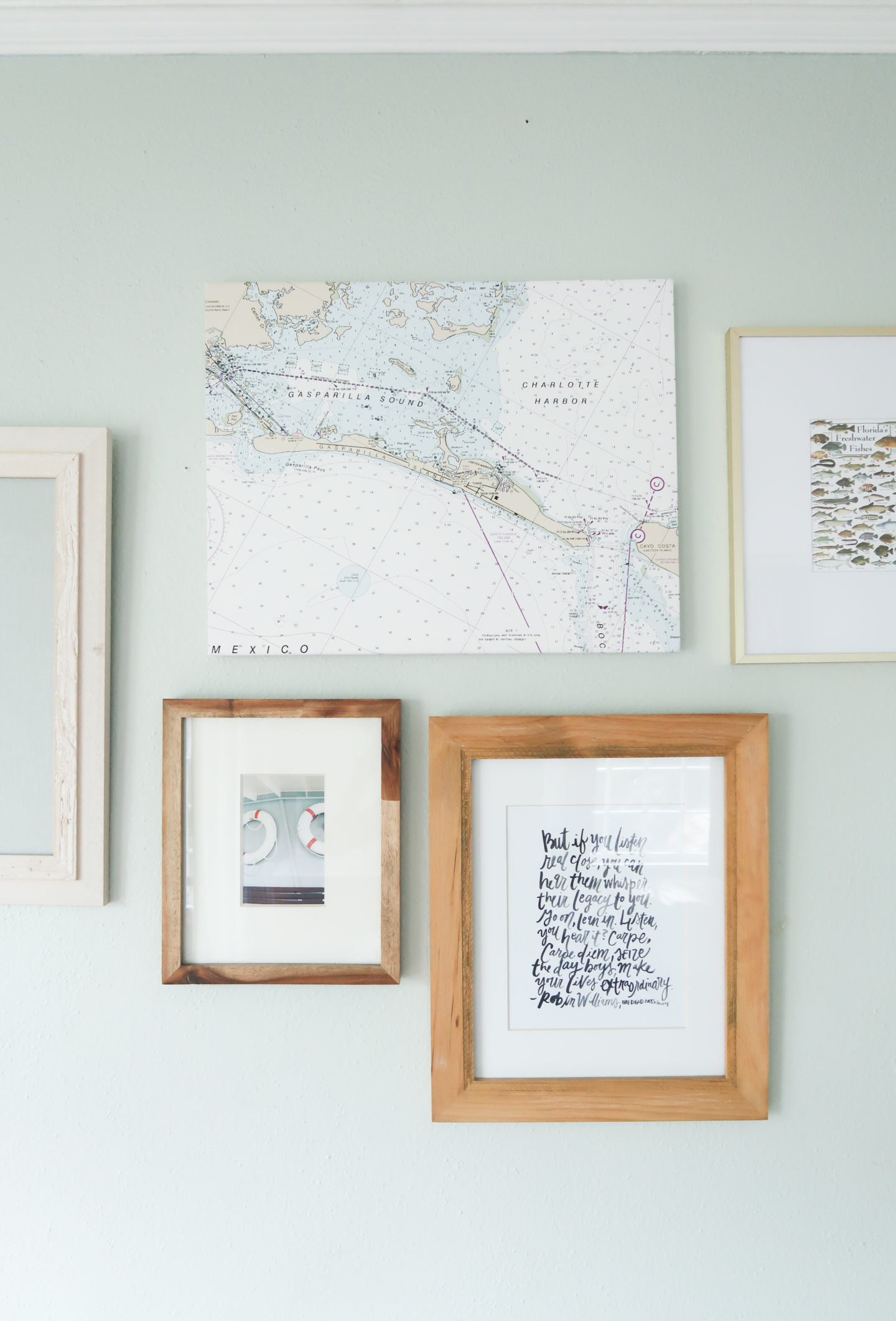 little boys gallery wall nautical inspired